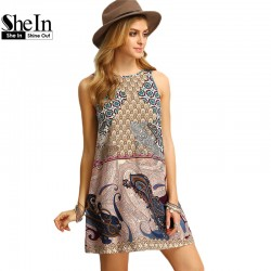 SheIn Women New Dress 2016 Summer Ladies Multicolor Round Neck Sleeveless Vintage Tribal Print V Back Straight Dress