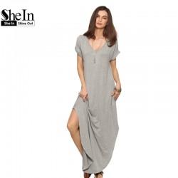 SheIn Women Summer Casual Shift Dresses Womens Plain Grey V Neck Short Sleeve Rolled-cuff Pockets Split Maxi Dress