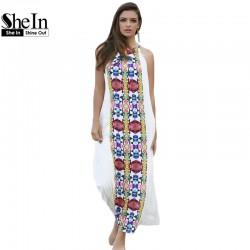 SheIn Women Summer Long Dresses Casual Multicolor Sleeveless Placement Print Keyhole Back Beach Wear Loose Maxi Dress