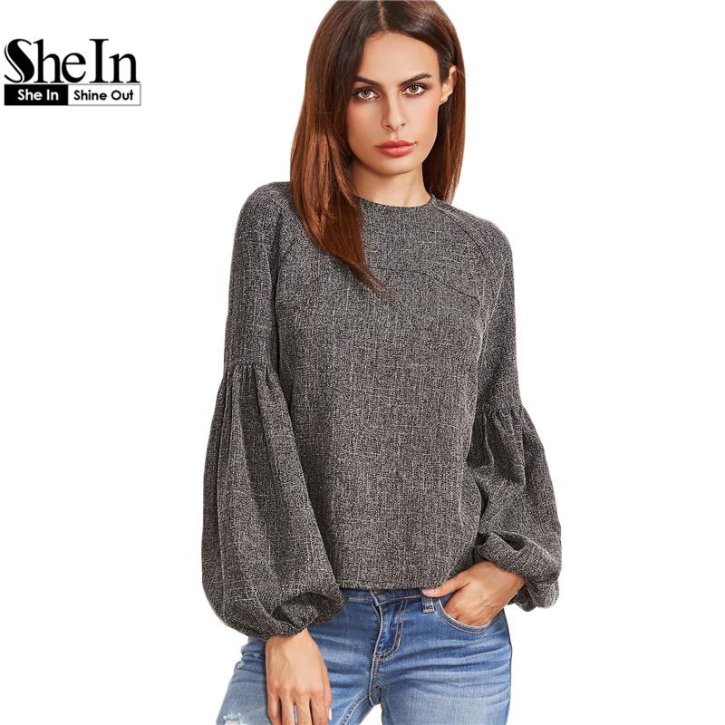 4e0c8b8ed1 SheIn Women Tops and Blouses New Fashion Women Shirt Ladies Tops Grey  Keyhole Back Lantern Sleeve Top Long Sleeve Blouse