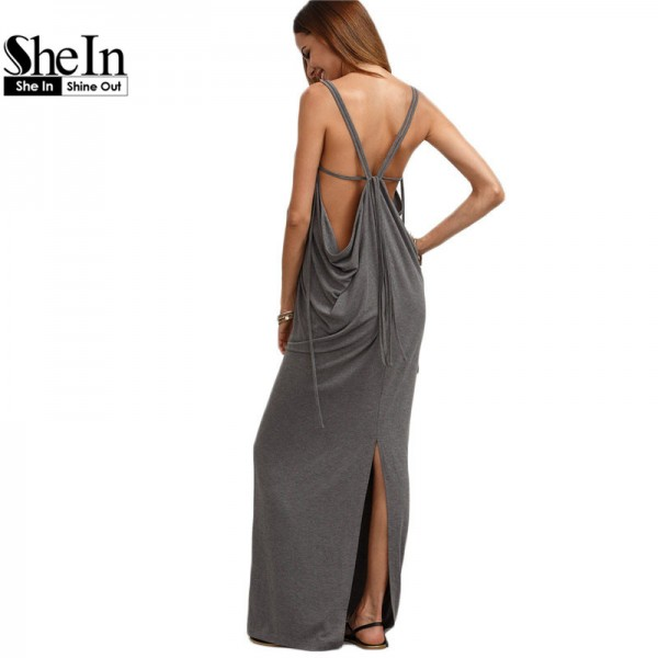 SheIn Womens Sexy Long Dresses Summer Ladies Plain Grey Sleeveless V Neck Backless Cut Out Split Shift Maxi Dress
