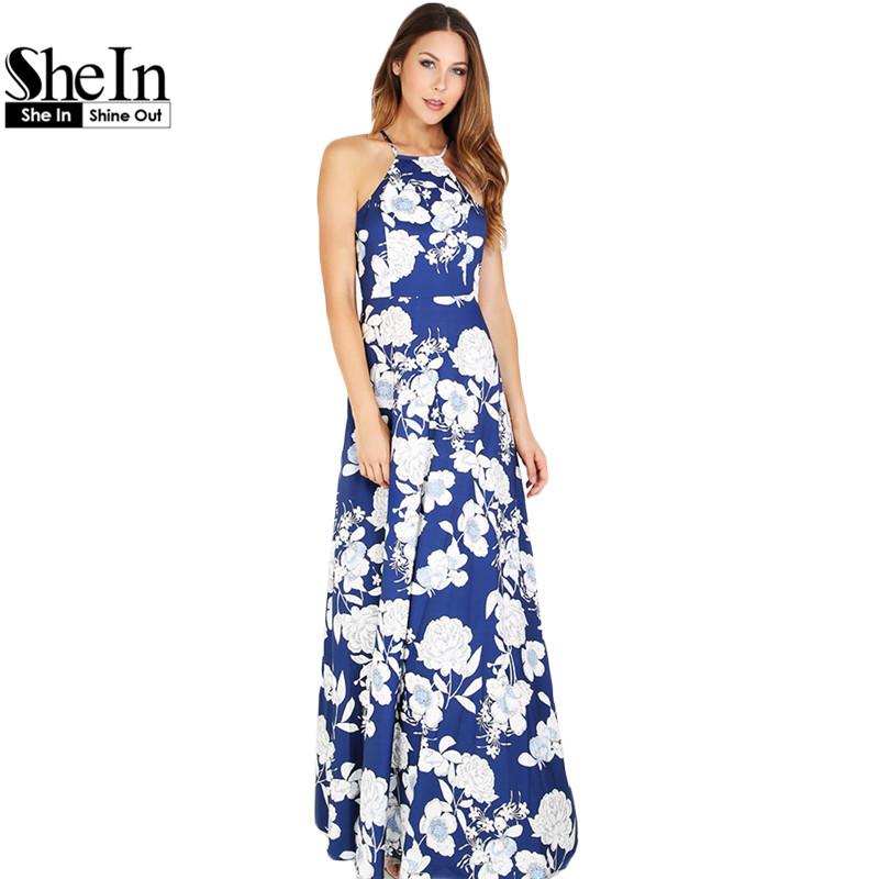 48caabf3c7 SheIn Womens Summer Maxi Dresses New Arrival Ladies Boho Dress Sleeveless  Blue Halter Neck Floral Print Vintage A Line Dress
