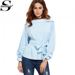 Sheinside 2016 New Fashion Women Shirts Women Tops and Blouses Blue Foldover Boat Neck Belted Waist And Cuff Blouse