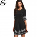 Sheinside A-line Boho Dresses Summer Style Vintage Women 2016 New Arrival Ladies Black Half Sleeve Embroidered Flare Dress