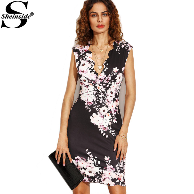 bf8b074a69 Sheinside Black Flower Print Plunge Scalloped Trim Sheath Mini Dress Office  Ladies V Neck Bodycon Short Dress