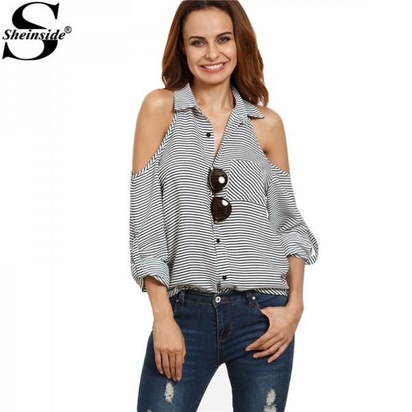 Sheinside Black and White Striped Button Down Lapel Shirt Women ...