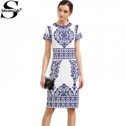 Sheinside Blue Print Winter Dresses Women 2016 Sheath White Elegant Vintage Dress Bodycon Ladies Pencil Knee Length Dress