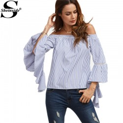 Sheinside Blue and White Women Tops and Blouses 2016 Striped Off The Shoulder Ruffle Long Flare Sleeve Women Shirts Sexy Blouse