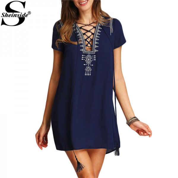 Sheinside Vintage Boho Lace Up Print Front Dresses 2016 New Casual Summer Style Women Short Sleeve Royal Blue Shift Dress