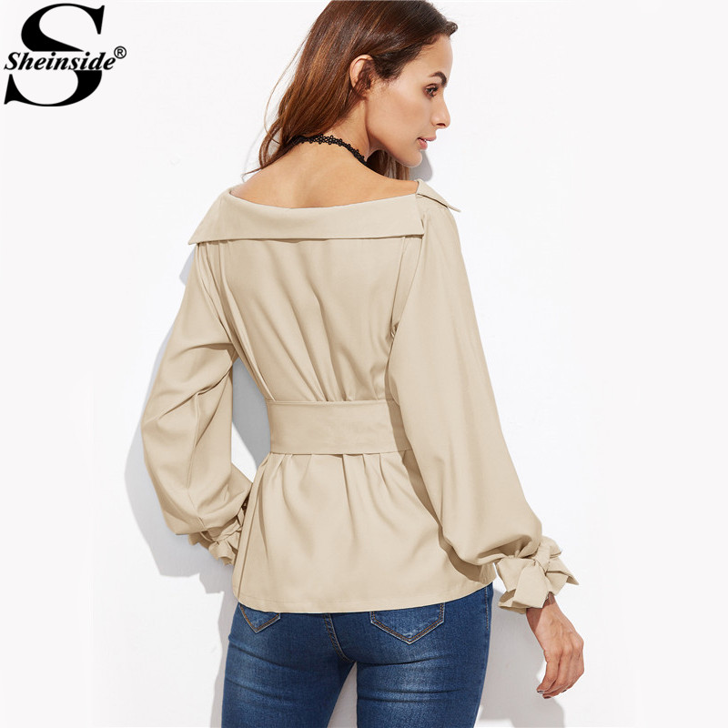 Sheinside Women Business Casual Clothing Ladies Office Shirts Khaki Foldover Boat Neck Belted ...