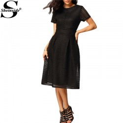 Sheinside Women Elegant Dresses 2016 Latest Fashionable Round Neck Pleated Black Short Sleeve Hollow Out Flare Flippy Mid Dress