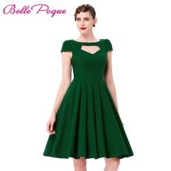 Short Sleeve Pin Up Big Swing 50s Dress Summer Vintage Green Red Black Hollowed Front Knee Length Retro Casual Rockabilly Dress