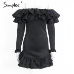 Simplee Off shoulder long sleeve women dress Ruffles vintage dress 2016 autumn winter Short bodycon sexy dress vestido de festa
