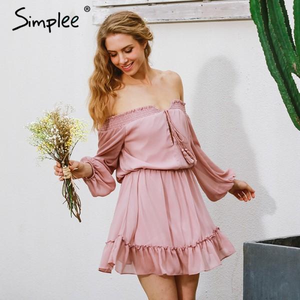 Simplee Short chifon vintage dress women Off shoulder long sleeve beach summer dress Ruffle sexy dress new year vestido de festa