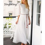Singwing Women Lace Long style Dresses Hollow Out Casual Dress Summer Leisure Slim Dress with Belt