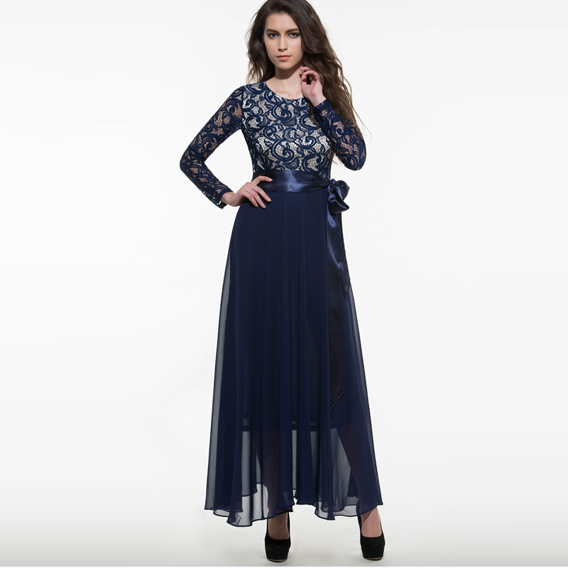 Women Summer Dress Chiffon Lace Maxi Dress Floor Length Wedding ...