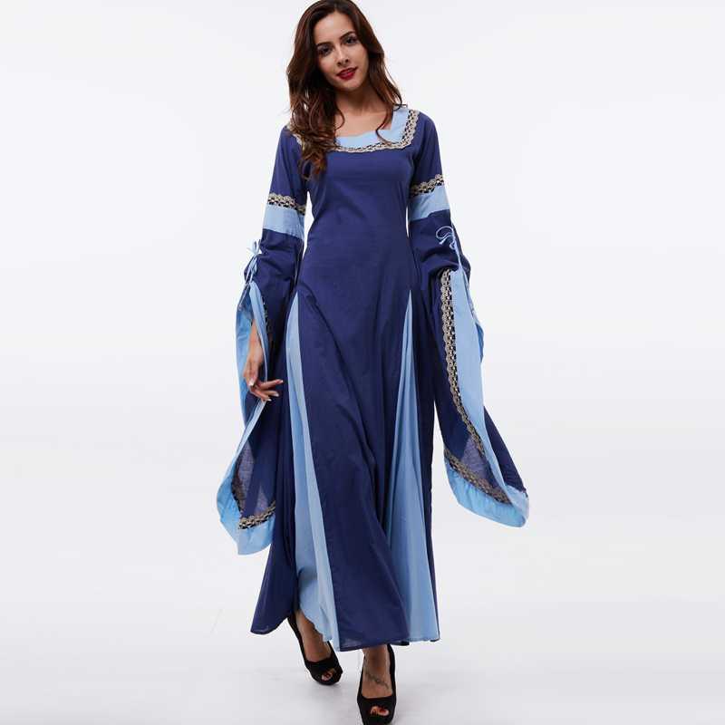 Sisjuly medieval dress light blue vintage style gothic dress floor ...
