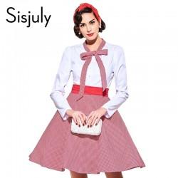 Sisjuly vintage dress 1950s style spring red patchwork full sleeve bowknot party dress rockabilly elegant female vintage dress
