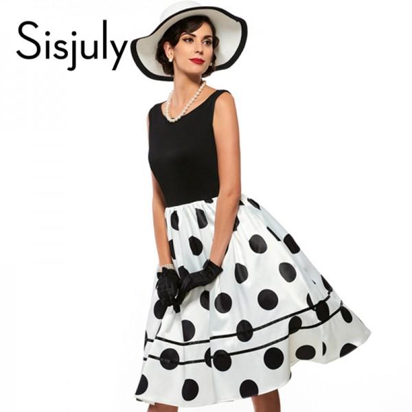 Sisjuly vintage dresses parthwork Elegant Sleeveless A-Line Knee Length Dress Color Block Polka Dots Plaid Women Vintage Dress