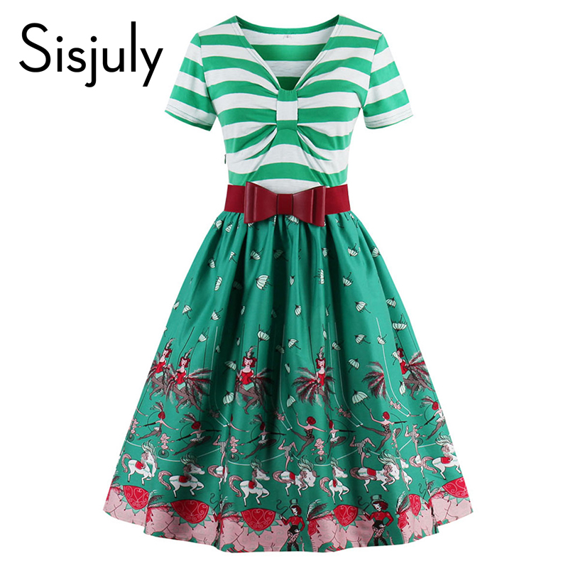 Sisjuly women patchwork stripe sleeves summer party dresses print flower  with cute bow 1950s women dresses vintage dresses 65157738845c