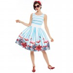 Sisjuly women pin up vintage dress floral print rockabilly bow belt  dresses blue white stripe summer  a line vintage dresses