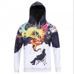 Smoking Old Man Sweatshirts Mens Casual Autumn Outwear Tie Dye Hoodie Colorful Smog Galaxy Sweatshirt  Contrast Color Clothes