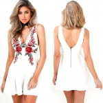 Smoves Womens Sexy Deep Plunge Rose Embroidery Tank Dress New Autumn Dresses GD371