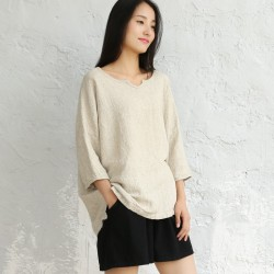 Solid Beige Plus size Linen Women Blouse Shirt Vintage Loose Causal Summer Shirts Blouse Short sleeve Linen Brand Tops 5031
