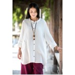 Solid Long sleeve Autumn Blouse Shirt Women Chinese style Cotton Loose Casual Long Blouse Shirt Original design Tops Blusas B143