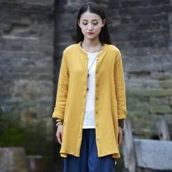 Solid Long sleeve Autumn Blouse Shirt Women Chinese style Cotton Loose Casual Long Blouse Shirt Original design Tops Blusas B143