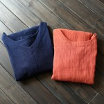 Solid Orange Blue 100% Cotton V-neck Women Long Dress Vintage Plus size Loose Casual Summer Dress Linen Robe Longue Femme A025
