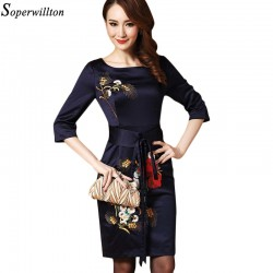 Soperwillton 2016 Women Dress Vintage High-end O-neck Women Bodycon Embroidery Party Dress Robe Femme vestidos With Belt #B916
