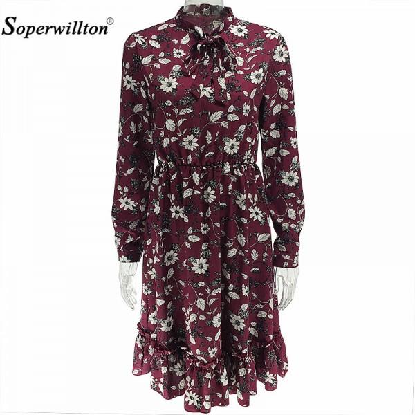 Soperwillton New Spring 2017 Women Dress Chiffon Dress Flowers Vintage Casual Plus Size Print Long Sleeve Knee Elegant Vestidos