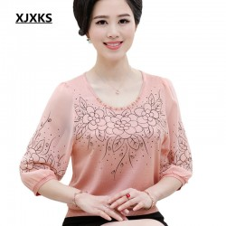 Specials 2017 new spring and summer blouses exquisite workmanship chiffon shirt ladies tops loose large size women top 2006
