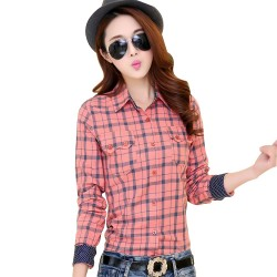 Spring 2016 new women's long sleeve plaid shirt female wild cotton Plus Size shirt Casual Blouse printed shirt bottoming Blouses