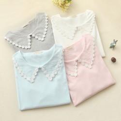 Spring Mori Girl Shirt Women's Casual Sweet Cute Lace Doll Collar Solid Slim Full Sleeve Female Vestido Bottoming Shirts U528