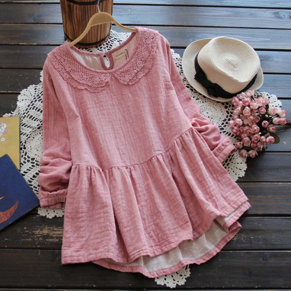 Spring Mori Girl Women Clothing Peter Pan Collar Lace Embroidery Long Sleeved Solid Color School Cute Shirt Blouses Blusas K011
