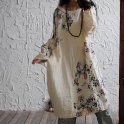 Spring Plus Size Cotton Linen Dresses Loose Vestidos 2018 Original Design Floral Print Dress Vintage Long Sleeve Casual Dress