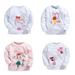 Spring Summer Children Girls T-shirt Cartoon 100% Cotton Long-sleeve Baby Girls T shirt 1-5 Years Kids Tops Toddler Girls Tees