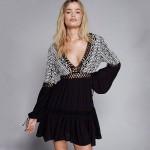 Summer Beach Dress Long Sleeve Mini Dress Bohemia Deep V Neck Sexy Dress Women Embroidery Patchwork Backless Boho Dress