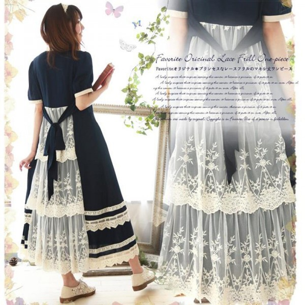 Summer Blue Long Maxi Dress Patchwork Lace Short Sleeve Cotton Japanese Mori Girl Style Casual Dresses