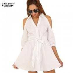 Summer Dress 2017 Women White Shirt Dress Elia cher Brand Plus Size Causal Women Clothing Chic Elegant Women Blouses Dresses