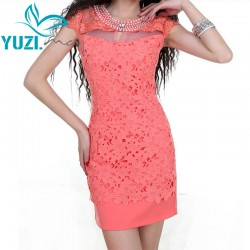 Summer Dress 2017 Yuzi.may Casual New Bodycon CrystalCollar Short Sleeve Hollow Out Lace Patchwork Women Dresses A6006 Vestidos