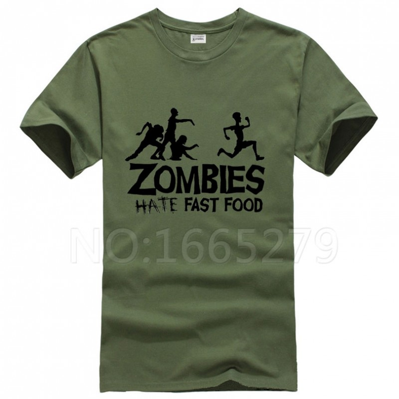 Summer Men T Shirts Zombies Funny Slogan Top Tees Glowing