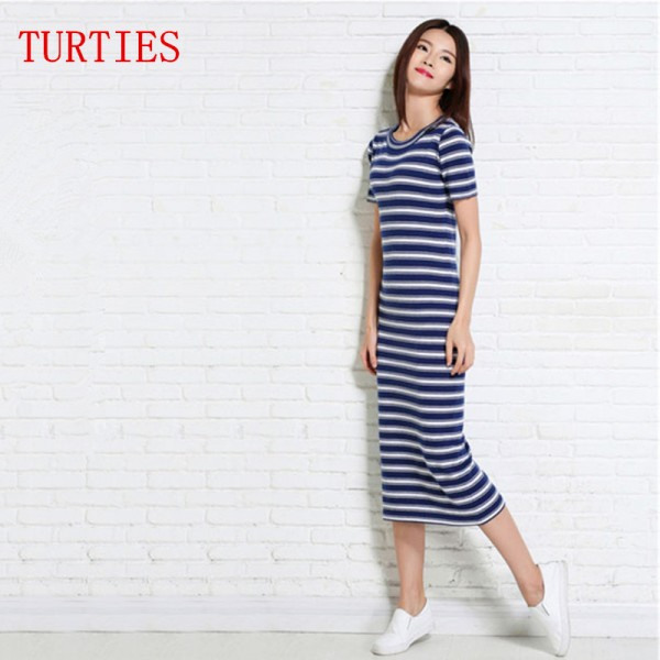 Summer NEW Women's Cashmere, blended Silk Dress  vest Slim round neck knit Long section striped Vest Dresses pullover Sweater