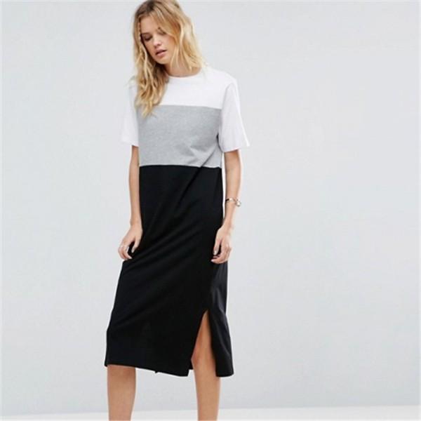 Summer New Europe Fashion Hit Color Simple Dresses for Women Short Sleeve Split hem Leisure Dress Female Street Cool Vestidos XL