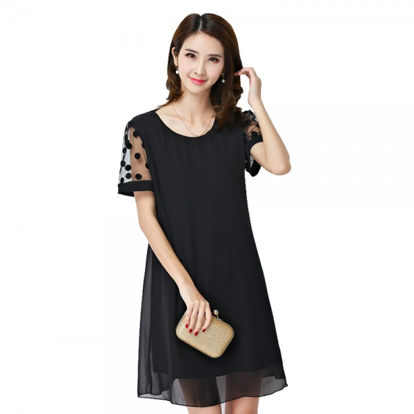 Summer Plus Oversize 5XL Chiffon Women Black Dress O neck Polka Dot Mesh Short Sleeve Loose Flare Layer  Elegant Mini Vestido
