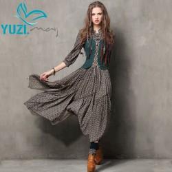 Summer Style Women Dress 2017 Yuzi.may Vintage Tunic Cotton Combo Dresses Mandarin Collar Three Quarter Sleeve Maxi Vestido 6526