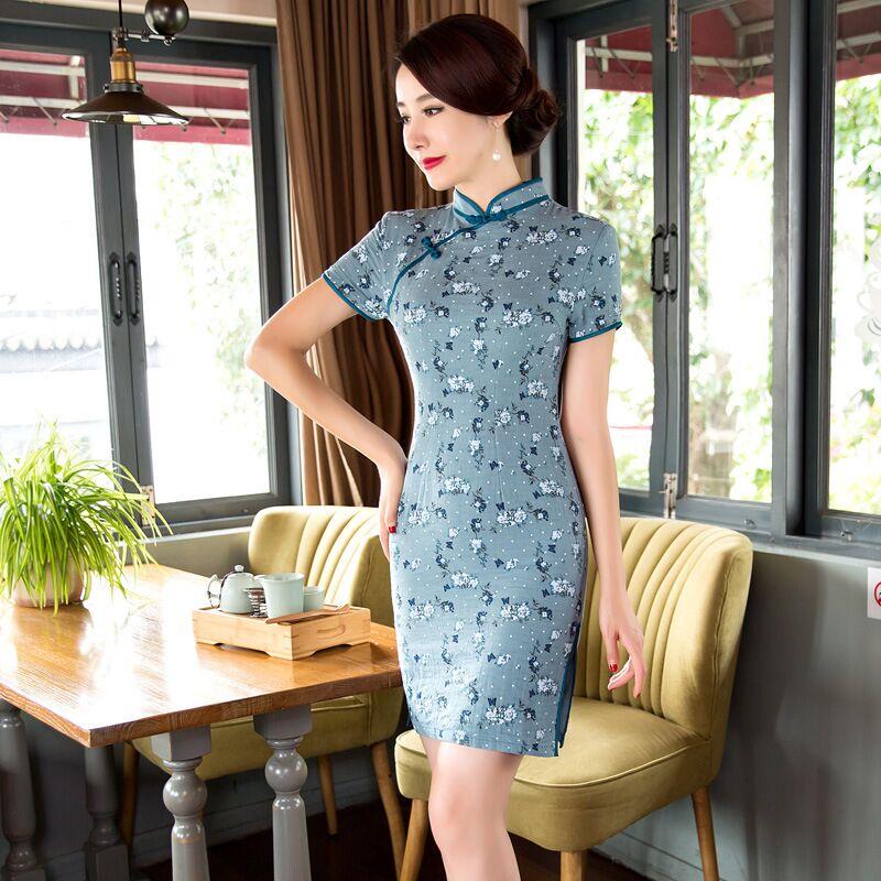 a198fb88a Summer Stylish Mini Cheongsam Chinese Ladies Elegant Linen Cotton Qipao  Novelty Dress Vestidos Size S M L XL ...