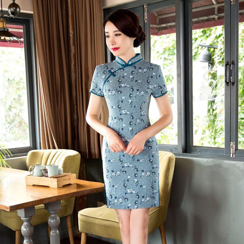 f8807defc Summer Stylish Mini Cheongsam Chinese Ladies Elegant Linen Cotton Qipao  Novelty Dress Vestidos Size S M L XL XXL XXXL C27384